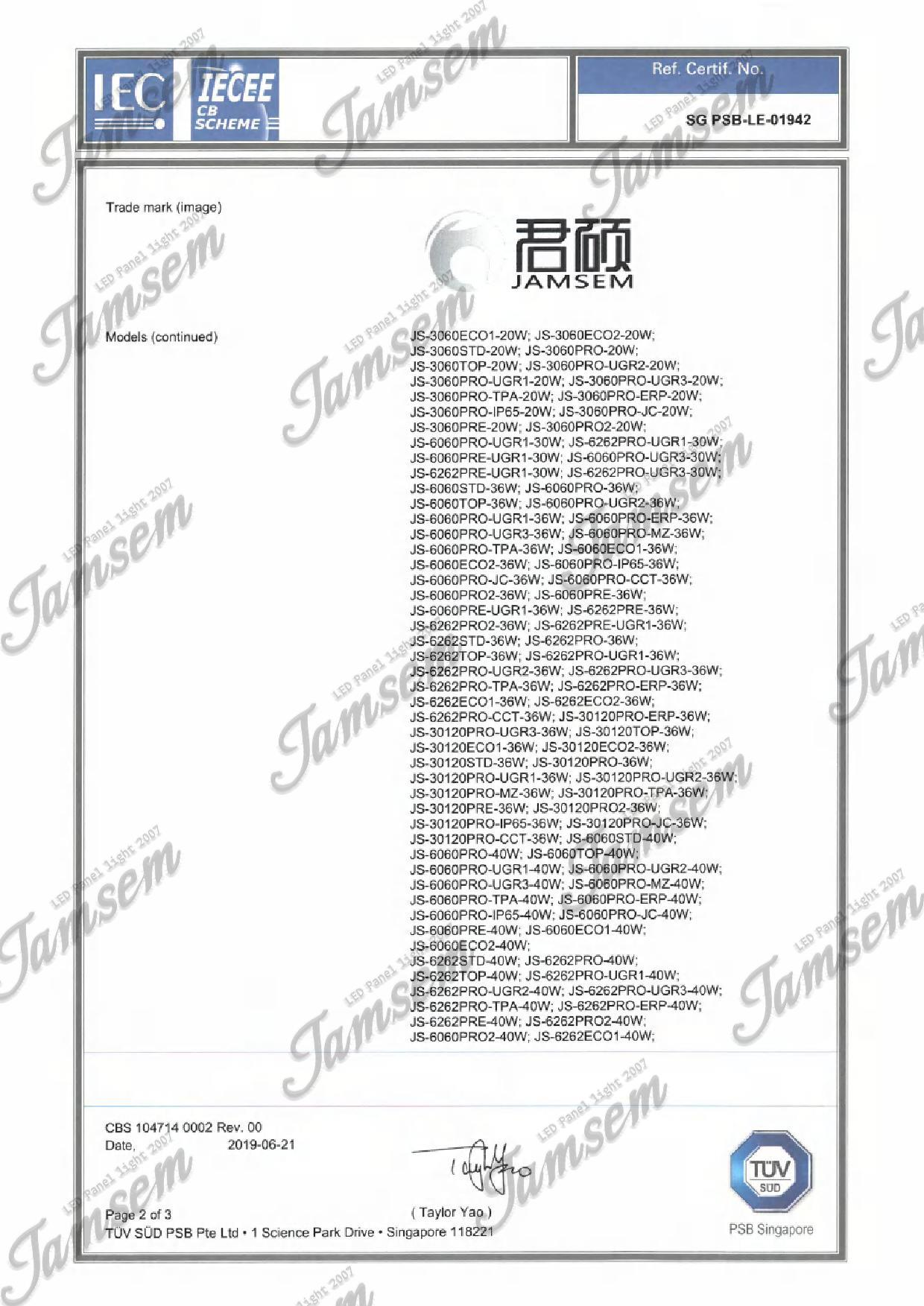 LED panel light CB certificate -JAMSEM_2