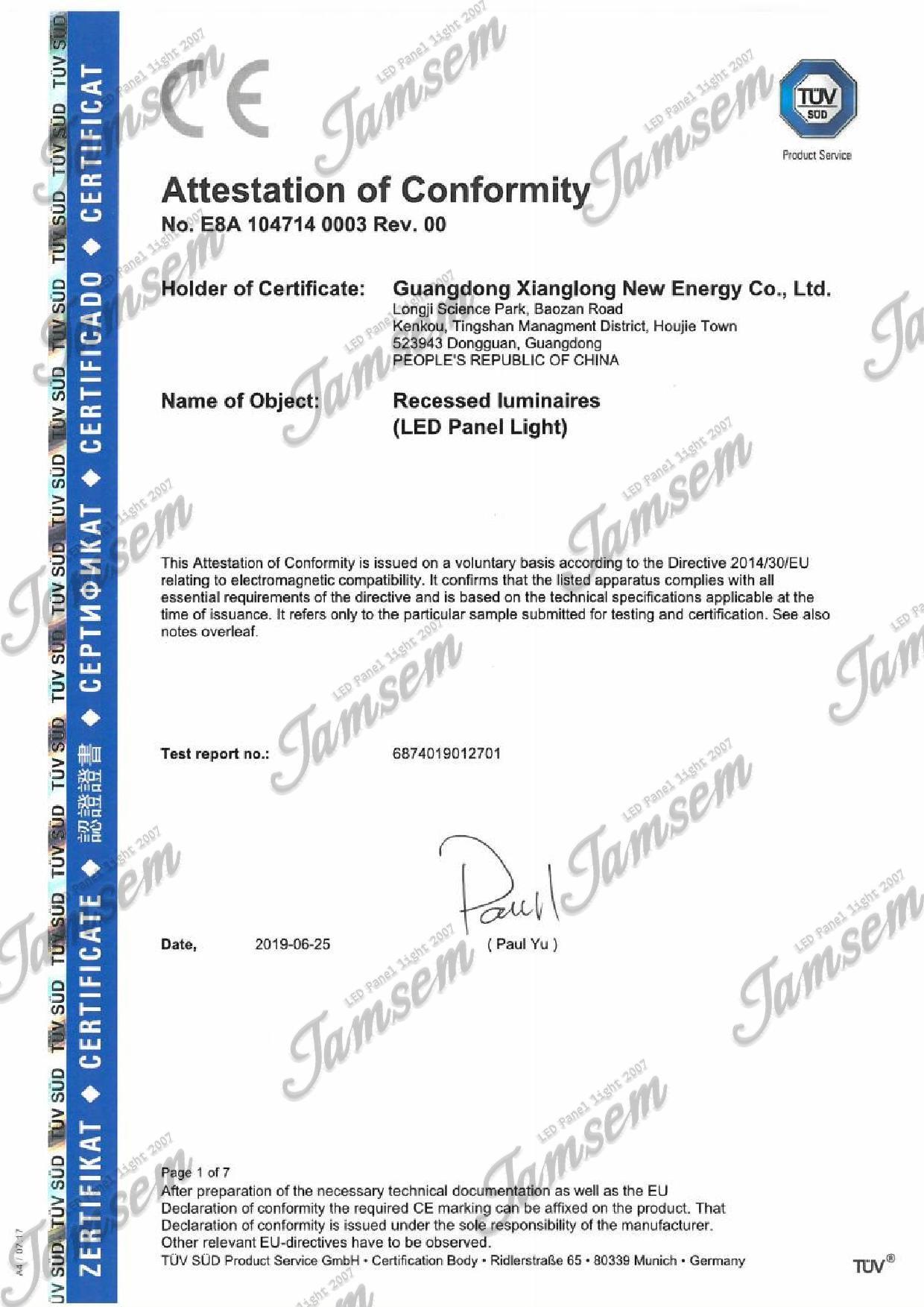 LED panel light CE-EMC certificate - JAMSEM_1
