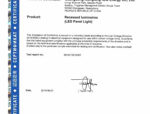 CE-LVD certificate of JAMSEM led panel light