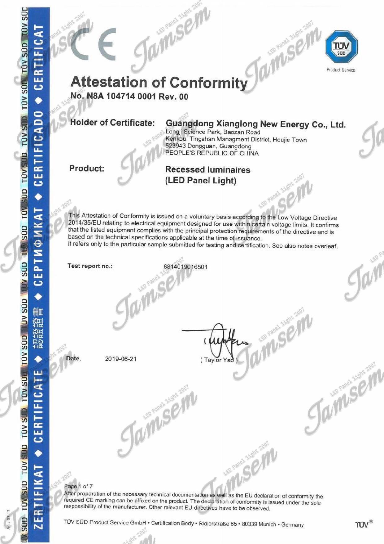 LED panel light CE-LVD certificate - JAMSEM_1