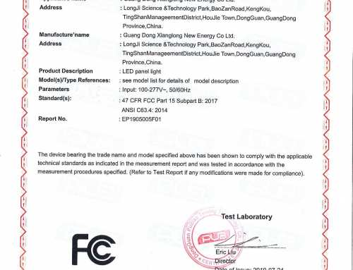 FCC certificate of JAMSEM led panel light