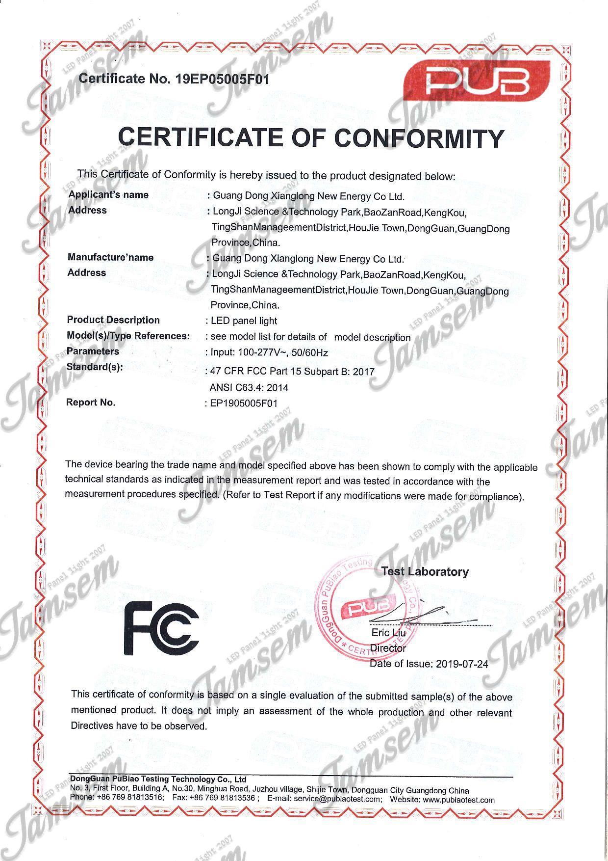 LED panel light FCC Certification JAMSEM_1