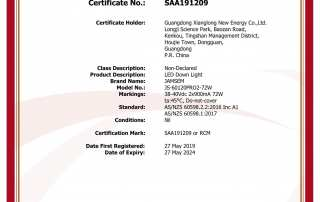 LED panel light SAA certificate - JAMSEM_1