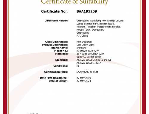 SAA certificate of JAMSEM led panel light