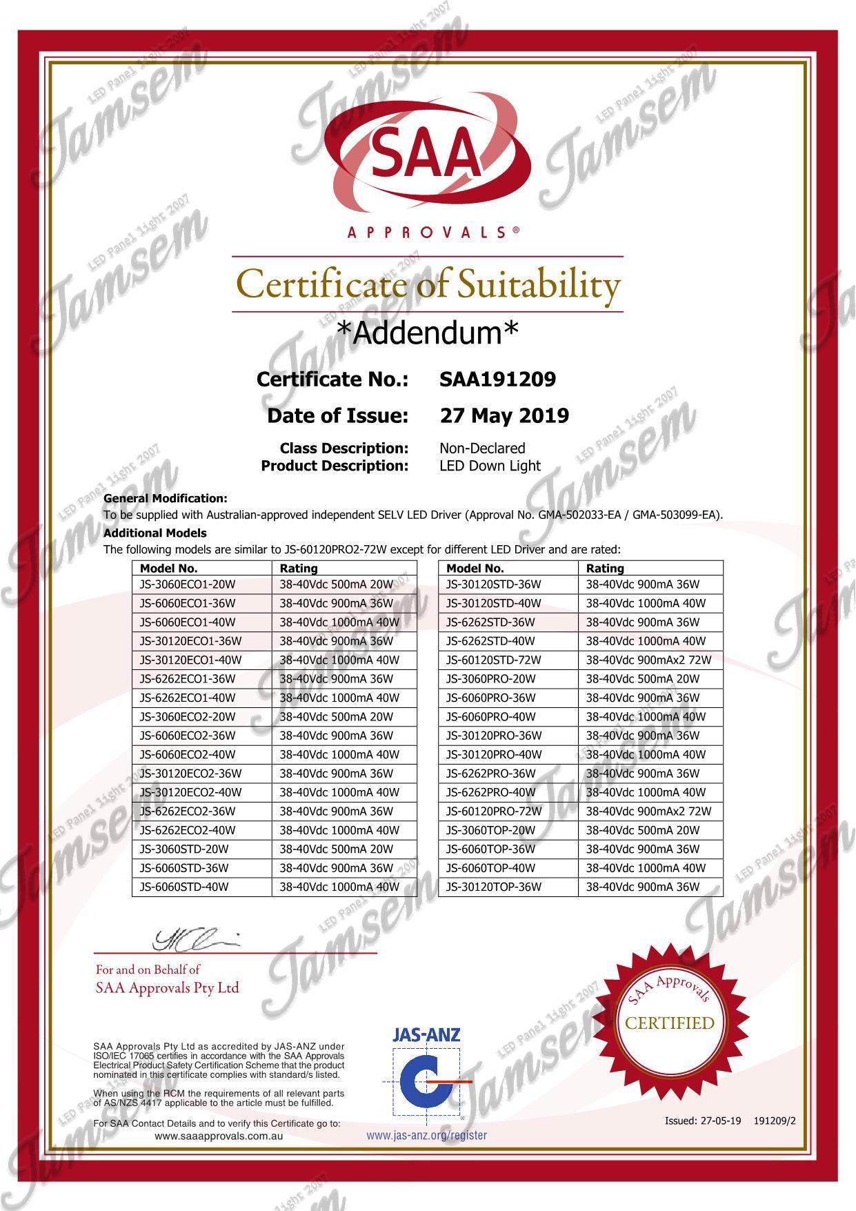 LED panel light SAA certificate - JAMSEM_2