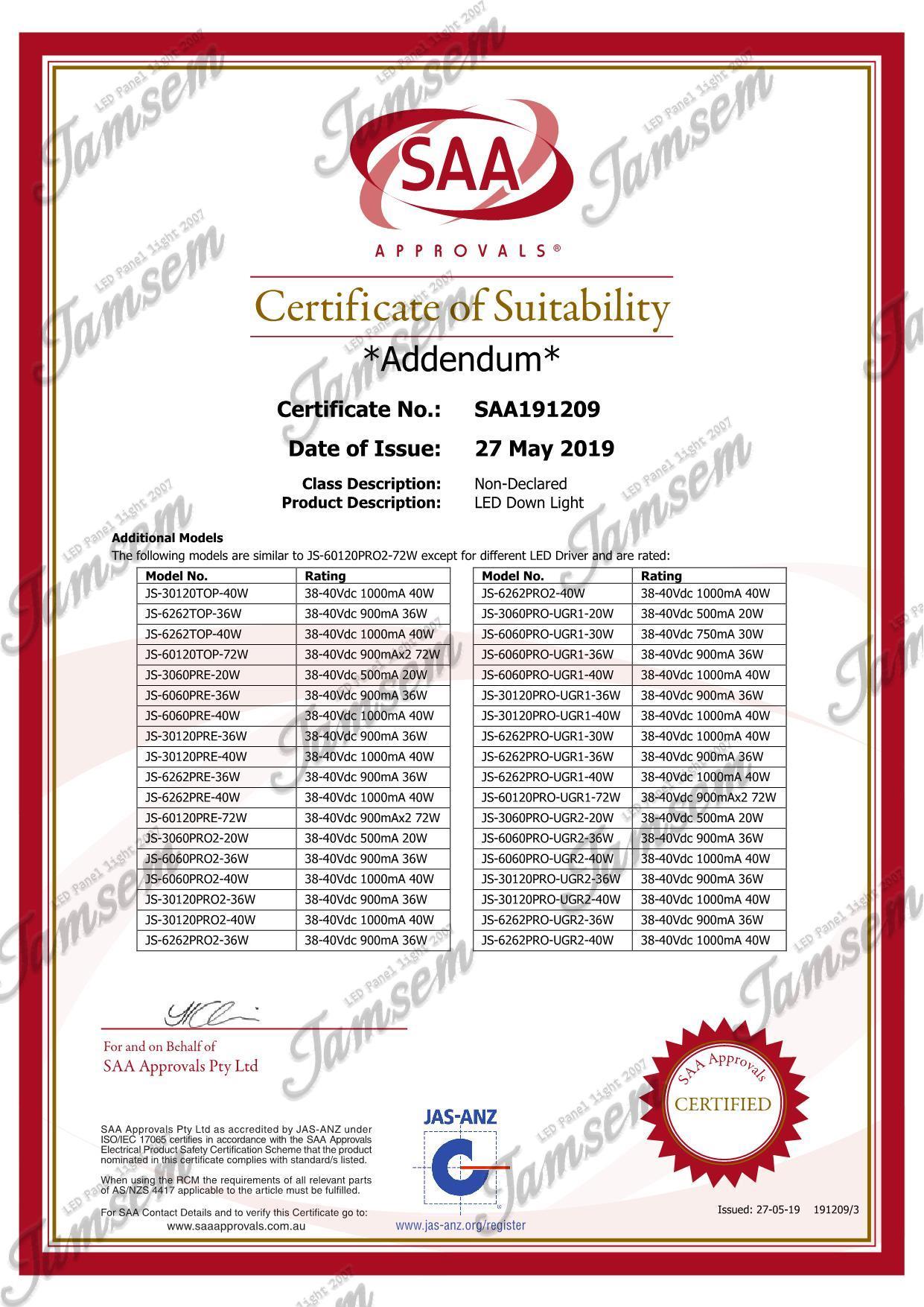 LED panel light SAA certificate - JAMSEM_3