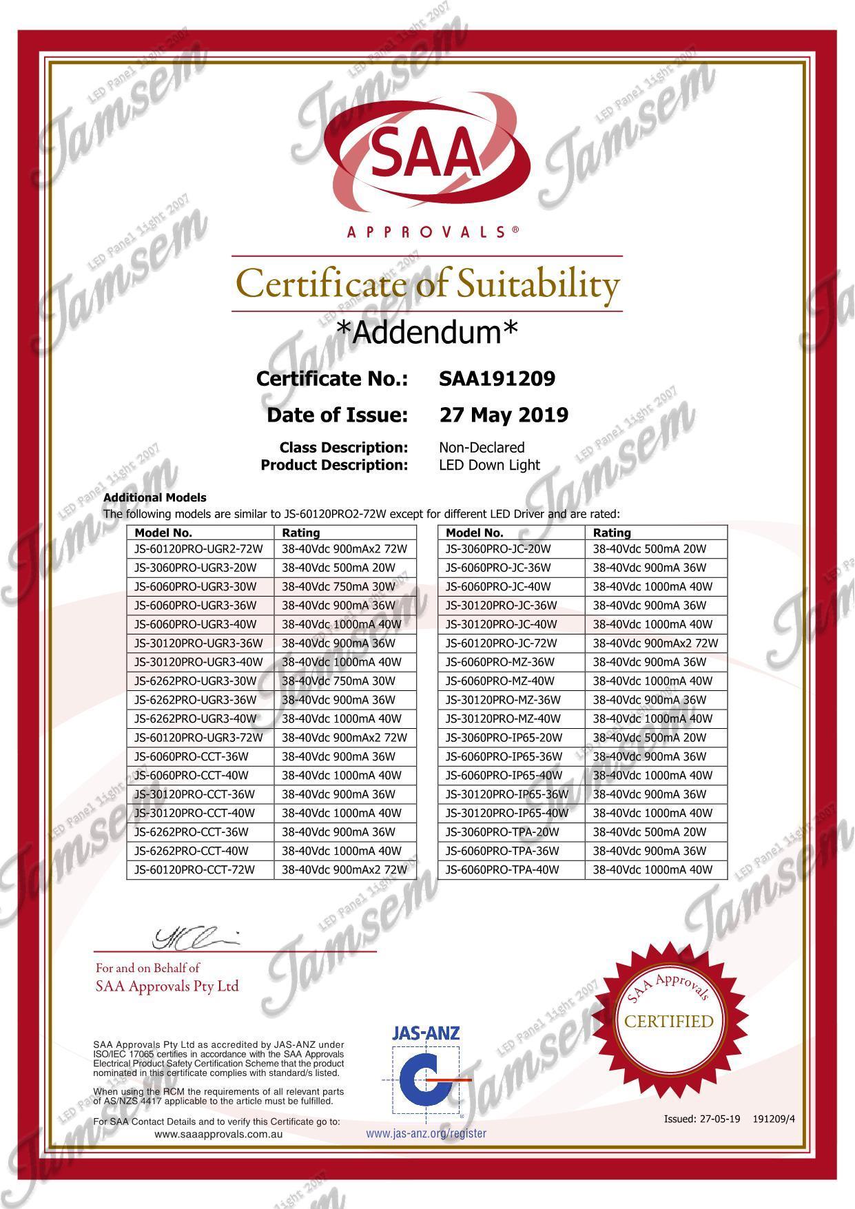 LED panel light SAA certificate - JAMSEM_4
